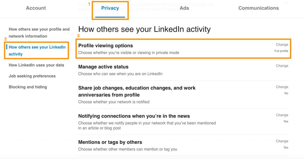 LinkedIn tutorial - profile viewing options