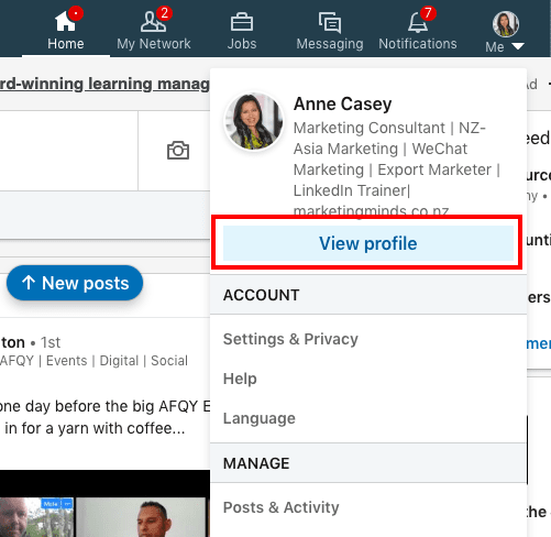 LinkedIn tutorial for business - view profile