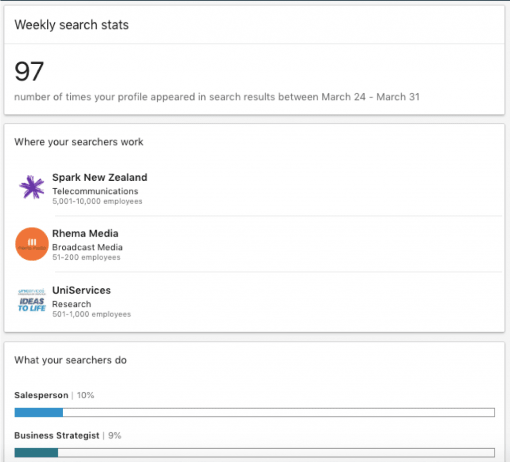 LinkedIn tutorial for business - weekly search stats