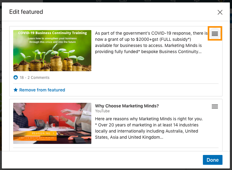 LinkedIn Learning - how to reorder featured content