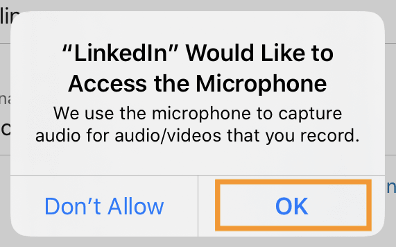 LinkedIn Learning – allow LinkedIn access to microphone