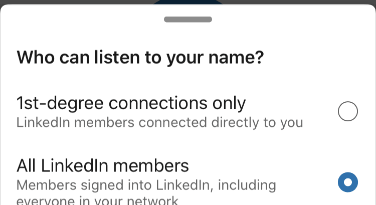 LinkedIn Learning – select who can listen to your name